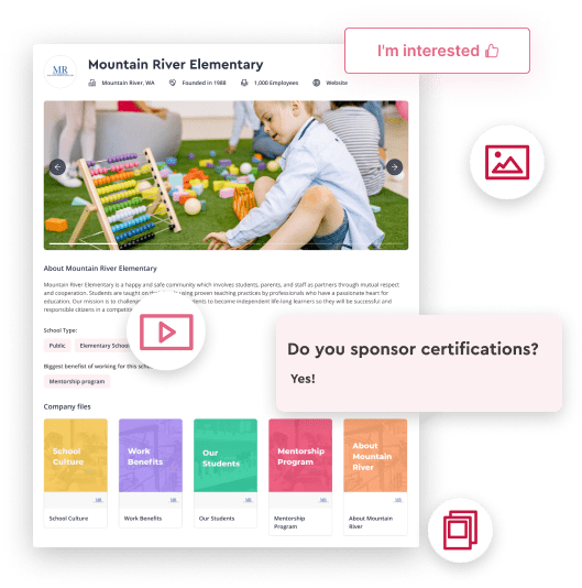 School brand highlighting school profile with branding content